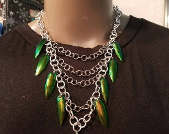 Long Beetle Wing Necklace