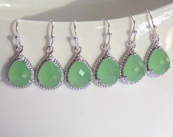 Wedding Jewelry, Bridesmaid Jewelry, Light Green Mint Earrings, Fluorite, Bridesmaid Earrings, Drop, Silver Earrings, Gifts, Dangle, Gift