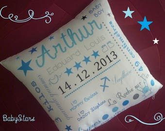 Personalized pillow satin baby girl or boy name star 35 cm