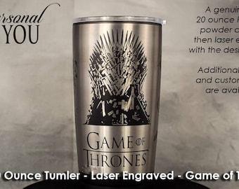 20oz Tumbler Laser Engraved, Black, Game of Thrones