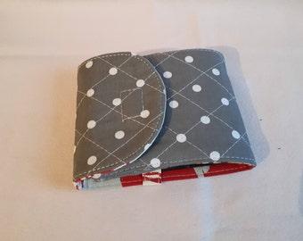 Grey polka dot fabric checkbook