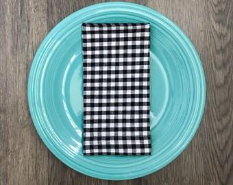 Black and White Check Dinner Napkins Set of 6 Cloth Napkins Gingham Print Farmhouse Decor Bridal Shower Gift