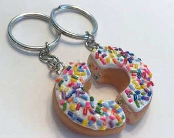 Sprinkled Doughnut Halves Key Chains, Polymer Clay Food Accessories, Best Friends Gifts