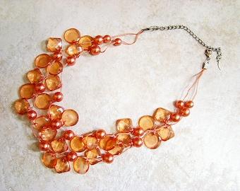 EsMor Necklace, Coral Necklace, Vintage Necklaces, EsMor Coral Beaded Necklace, Coral Beaded Necklace, Vintage Jewelry, Coral Necklace