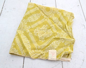 1970s Citron Damask Fabric Sample