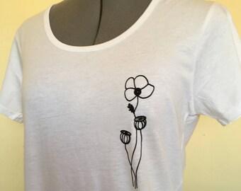 Poppy Tshirt, Womens Tee, Flower Tshirt, Poppy illustration, Women TShirt