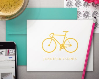 Bike Stationary   Folded Notecards   Custom Personal Stationery   Personalized Thank You Cards   Named Note Cards   BICYCLE