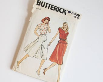 SIZE 8 3909 Butterick Women's Skirt Culottes Pants Top Shirt Sewing Pattern Vintage 1980s Eighties Loose Fitting Bateau Neck Elastic Waist