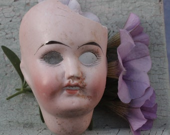 Broken Doll Head Antique German Porcelain Bisque Doll Head