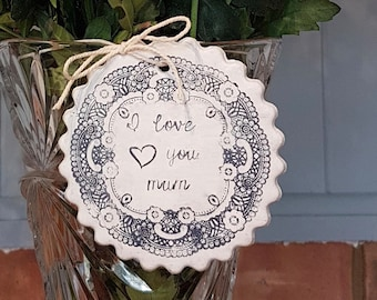 Personalised 'I Love You' Hanging Clay Gift Plaque