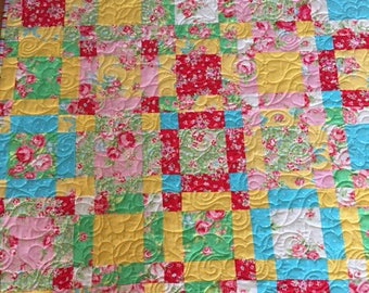 Sweet Baby Quilt, Quilts for Sale, Handmade Quilts, Floral Quilts, Rose Quilts, Baby Shower Quilt, Baby Quilt, Girls Quilt, Childs Quilt