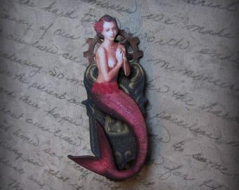 Steampunk Mermaid  Art Brooch