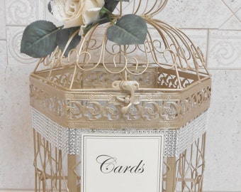 Champagne Gold Wedding Birdcage Card Holder | Wedding Card Box | Extra Large Birdcage