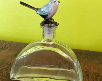 Large Glass Perfume Bottle, Decanter, With Lucite Bird Lid