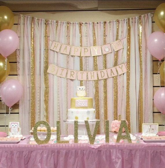 Blush Pink U0026 Gold Garland Backdrop   Birthday, Baby Shower, Wedding ...  Fabric, Sequin And Lace   Decoration