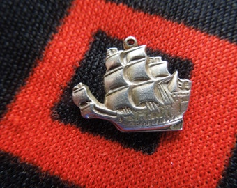 Sterling Ship Charm Vintage Pirate Ship Galleon Sailing Ship Charm Sterling Silver Charm for Bracelet from Charmhuntress 03740