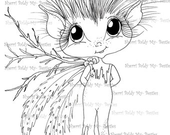 INSTANT DOWNLOAD Digital Digi Stamps Big Eye Big Head Dolls NEW My Besties Magical Creatures  Scann0094 Meet Twigs By Sherri Baldy
