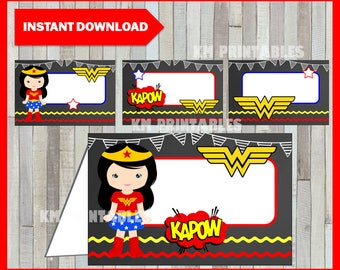 Printable Wonder Woman Chalkboard Food labels instant download, Wonder Woman Food tent cards, Printable Wonder Woman Tent cards