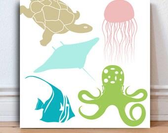 Sea inspired nursery, Ocean themed nursery Octopus, Sea Turtle, Stingray Jellyfish Marine Life sealife Bathroom Decor kids Bathroom decor