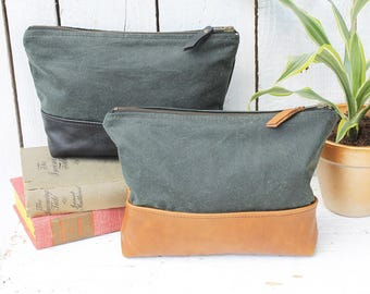 Green waxed cotton & leather wash bag with waterproof lining