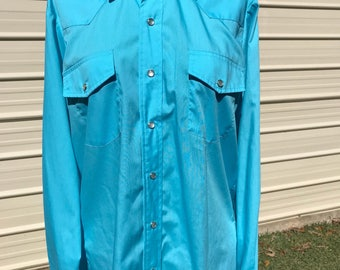 Vintage Clothing Men's Western Shirt Cowboy Size  Small  Turquois Blue Mother of Pearl Snaps Rockabilly