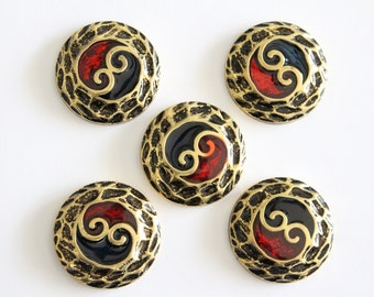 ONLY LOT - Vintage gold red and blue swirl round cabochons . 38mm (5)