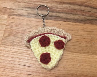Crocheted Pepperoni Pizza Keychain