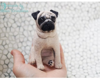 Pug/ Pug dog/ Pug ornament /Custom pet portrait/ Personalized Pet/Miniature animal/Felted Pug