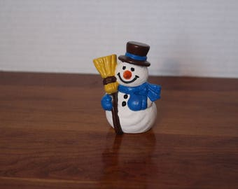 Bisque snowman with broom hand painted