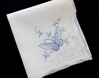 Vintage handkerchief white cotton with blue butterfly