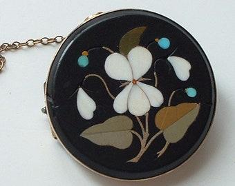 Victorian Ashford Marble style Pietra Dura brooch