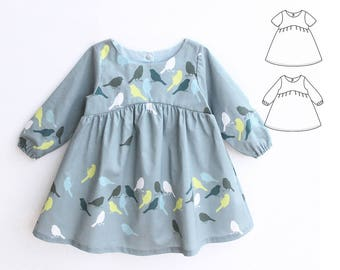 BLUE TIT Girl Baby Girl Dress pattern Pdf sewing, Woven Dress, Short and Long Sleeve, Toddler dress, newborn dress 0 - 10 years