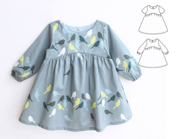 BLUE TIT Girl Baby Girl Dress pattern Pdf sewing Woven Dress