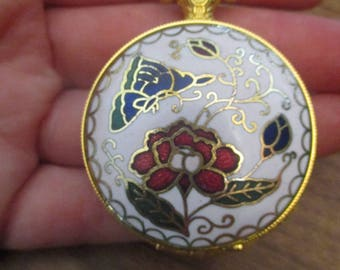 White Enamel Pocket Watch with Floral Design