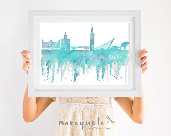Lámina Skyline SEVILLE - AZUL claro / Seville Skyline - Watercolor, Light BLUE.