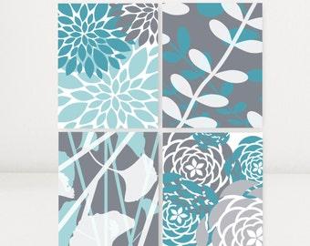 Teal and Gray Art Print Set Home Decor Gallery Art Modern Art Floral Prints Botanical Art Set of 4 Flower Prints or Canvas Bedroom Bathroom