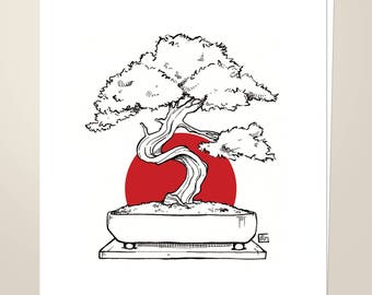 "Rising Sun Bonsai, 8.5""x11"" Art Print"