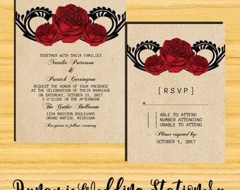 Gothic Swirl Roses Digital DIY Printable Wedding Invite and RSVP Card