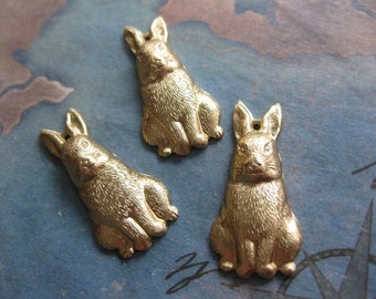2 PC Raw Brass Stamping Rabbit Pendant / Charm Finding - TT04