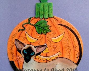 Original SIAMESE CAT HALLOWEEN  pumpkin sign by Suzanne Le Good