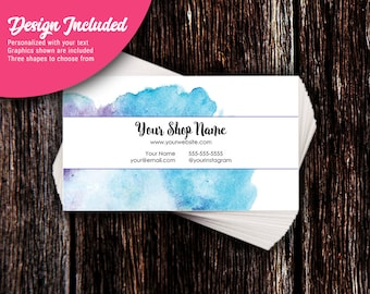 Business Cards - Custom Business Cards - Personalized Business Cards - Mommy Calling Cards - Blue Watercolor