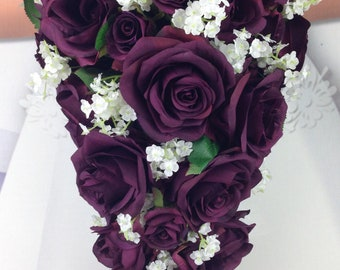 New Artificial Plum Wedding Teardrop Bouquet, Baby's Breath and Plum Bridal Bouquet, Plum Round Bouquet