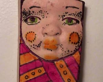 Handmade clay face rectangle mask Buddha spirit dolls doll head  jewelry craft supplies  handmade clown cabochon  face   polymer