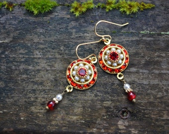 Red Rhinestone Earrings with tiny  pearls and Czech glass beads Swarovski crystal red gold and faux pearl earrings handmade jewelry gift