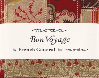 "SALE!! Bon Voyage Fabric Charm Pack by French General for Moda Fabrics - 5"" Squares"