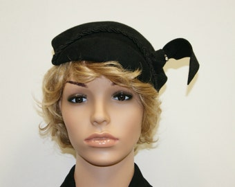 Vintage 40's 50's Black Wool Hat With Rhinestones by Merrimac Hat Corp - Size L