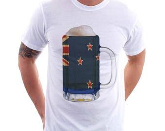 New Zealand Country Flag Beer Mug Tee, Home Tee, Country Pride, Country Tee, Beer Tee, Beer T-Shirt, Beer Thinkers, Beer Lovers Tee, Fun Tee