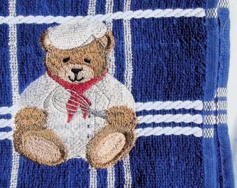 Teddy Bear Chef Tea towel, Kitchen Towel, Embroidered Towel, Kitchen Gift
