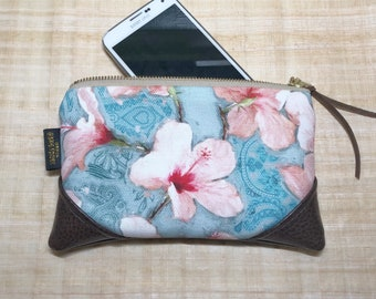 Mini Painted Hibiscus Zipper Pouch / Mini Clutch with inside lining and Zipper Pull or Leather Wristlet Strap