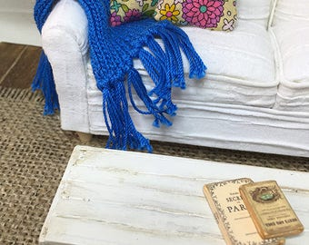 Shabby Chic Handmade Miniature Dollhouse Sofa Throw - Small Hand Knitted with Fringe (plain stitch) - Pick a Color